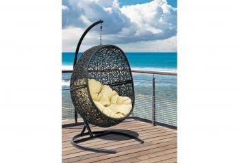 Подвесные кресла: Кресло подвесное Lunar Black каркас черный, подушка светло-бежевая
