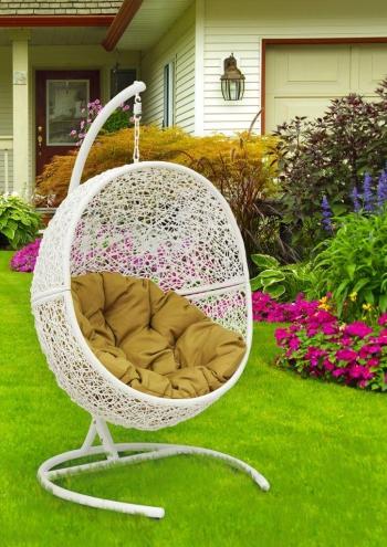 Подвесные кресла: Кресло подвесное Lunar White каркас белый, подушка тёмно-бежевая